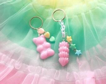 Pink Gummy Bear Keychain - fairy kei keychain, kawaii keychain, candy keychain