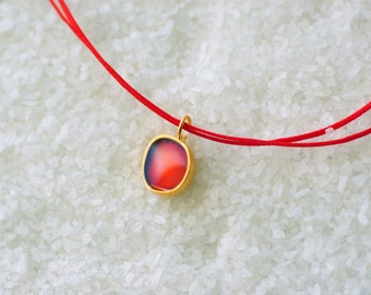 Delicate Simple Layering Necklace, Red Enamel, Golden Plated Bronze, Adjustable Cord/  Gift under 50 /Valentine gift.