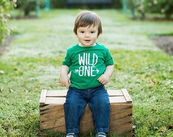 Wild One Short Sleeve Toddler T-Shirt, Hipster Modern Kids Clothing, Personalized, First Birthday Outfit, Little Explorer, Adventurer, 1st