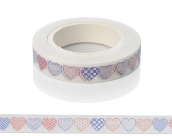 Fun Washi Tape - Decorative Heart Pattern Tape - Full Size 10m Roll of 8mm Paper Tape - Great Size Tape For Planners, Scrapbooks, Cards
