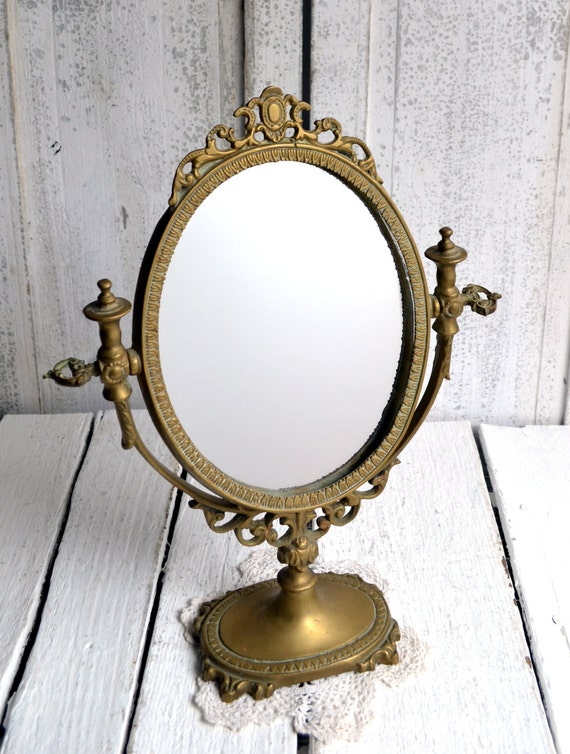 ornate antique french baroque mirror and brass stand dressing. Black Bedroom Furniture Sets. Home Design Ideas