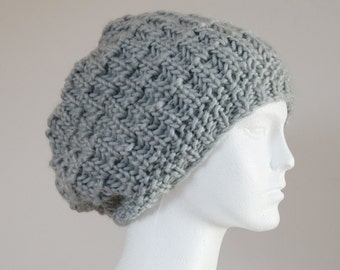 Slouchy Hat - Gift for Women - Knitted Hat for Women - Womens Winter Hat - Sister Gift - Hand Knit Gray Hat - Gift for Her - Fiance Gift