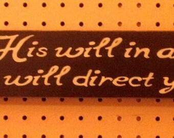 """STENCIL - Seek His Will In All You Do, 3.25"""" x 24"""", Bible Verse Stencil, Primitive Stencil"""