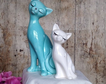 Pair of Vintage Porcelaine Siamese  cats