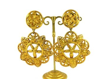 CHRISTIAN LACROIX * Gorgeous vintage massive openwork abstract floral dangling earrings