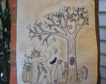 Fall Pillow - Hand Embroidered Fall Stitchery - FALL Decorative Pillow - Room Decoration