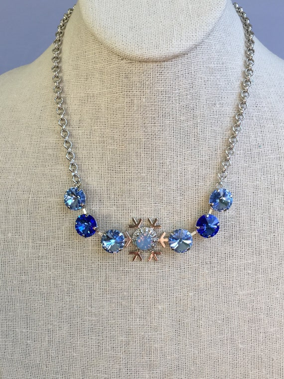 Sapphire Crystal Snowflake Necklace, Silver