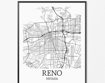 Reno Map Art Print, Reno Poster Map of Reno Decor, Reno City Map Art, Reno Gift, Reno Nevada Art Poster