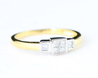 Square princess cut diamond ring in 18 carat mixed white and yellow gold for her