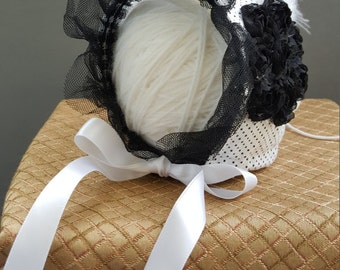 Beautiful Black and White baby bonnet perfect for your newborn