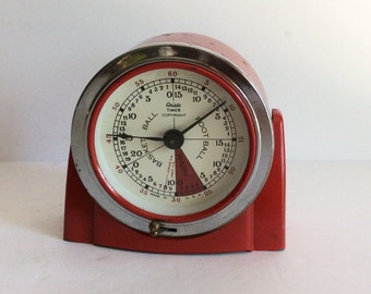 Vintage Timer, Old Aristo Basketball/Football Timer, Game Room, Sports Memorabilia, Mid Century Timers, Chippy Paint Red Timer, Sports Bar