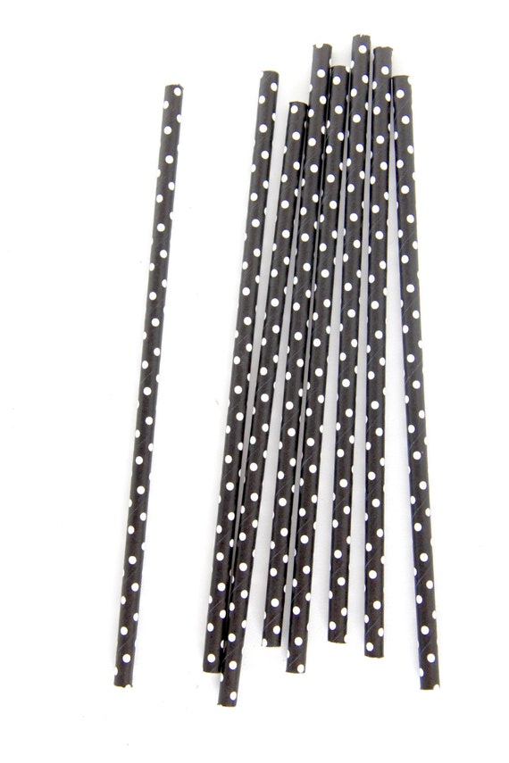 CLOSEOUT SALE Black and White Small Polka Dot Straws 15 Count