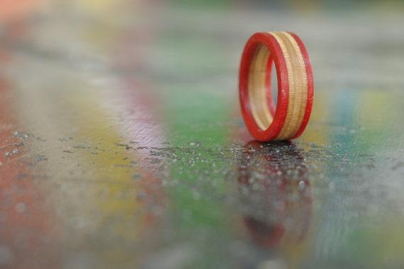SKATEBOARD recycled ring orange (wood)