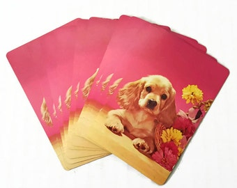 Cocker Spaniel Puppy Vintage Playing Cards by Congress Puppy Dog Flower Basket on Pink Background