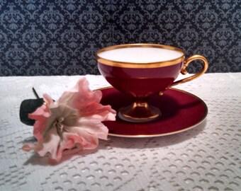 Vintage SS Bremen Demitasse Tea Cup, Norddeutscher Lloyd, by Hutschenreuther Selb, Ruby Red, Maiden Voyage Cup, Circa 1929, RARE