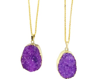 Druzy Necklace, Raw Stone Necklace, Oval, Teardrop, Natural, Stone, Purple, Sparkly, Bridesmaid, Gift, Glitter, Gold, Boho, Gemstone