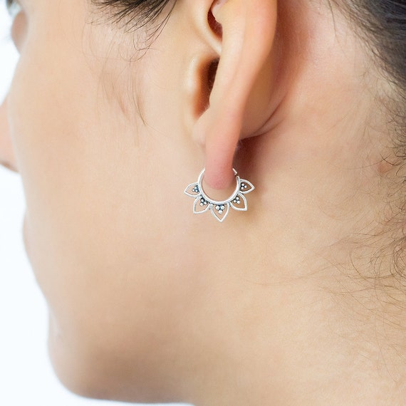 Tribal earring (single). tragus piercing. cartilage earring. tragus earring. tragus hoops. tiny hoops. tiny earrings. helix earring.piercing