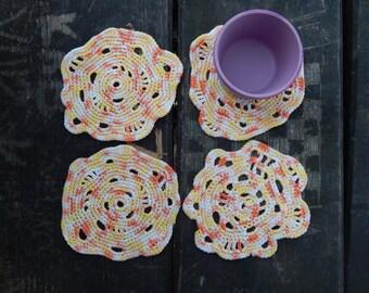 Coasters - Set of coasters - Drink coasters - Crochet coasters - Drink placemats - Free form crochet coasters - Cotton coasters