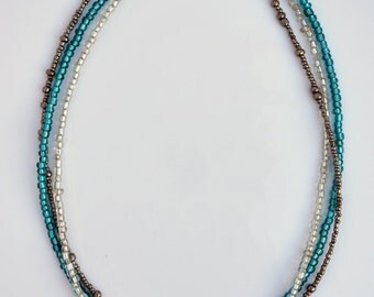 18-inch Teal and Silver Beaded Necklace