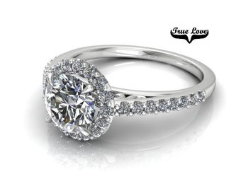 Moissanite Engagement Ring 14kt White Gold, Forever One, Wedding Ring, Halo, Side Diamonds #7879