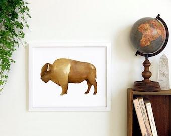 Bison Print | Watercolor Buffalo Art | Tribal Print
