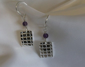 fine silver metal clay, small disk,earrings,onyx beads,amethyst beads,