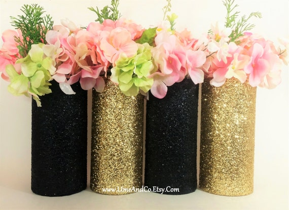 Wedding centerpiece gold decor cylinder vase black