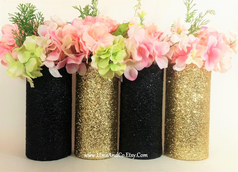 Wedding centerpiece gold decor cylinder vase black