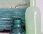 Antique Glass Insulator Hemingray 42  Dark Aqua
