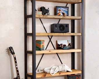 Shelf, bookcase, floor rack made of steel and wooden planks