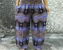 Bohemian Art Paisley Printed Yoga Pants Boho Stylish Hippies Styles Clothing Clothes Gypsy Tribal Beach Summer For Women Chic in Blue