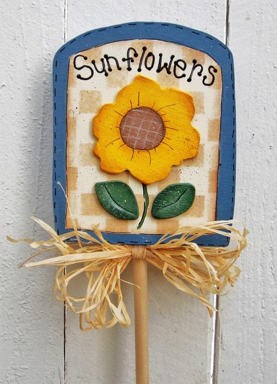 Garden Sign Plant Stick Plant Poke Plant Stake Sunflower