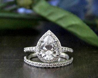 3.05 ct.tw Bridal Set-Pear Cut Diamond Simulant-Halo Engagement Ring-Wedding Band Ring-Wedding Ring-Anniversary Ring-Sterling Silver [4952]