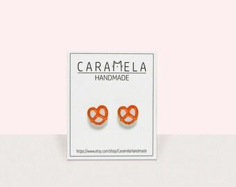 Pretzel stud earrings Food earrings Pretzel Earrings Gift Idea
