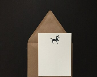 5 pk -Unicorn Notecards & Envelopes - Letterpress Flat