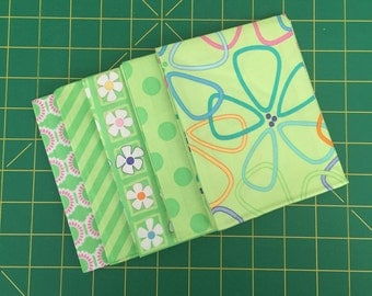 """GROW! Fat Quarter Bundle by Me & My Sister for Moda Fabrics ~ 5 Green, Purple and Turquoise 18""""x22"""" PreCut Rectangle Cotton Quilting Pieces"""