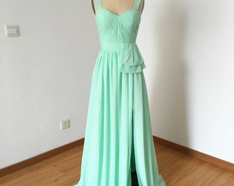 Wide Straps Sweetheart Mint Chiffon Long Bridesmaid Dress with Front Slit