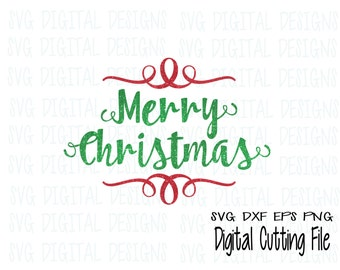 merry christmas svg file, holiday svg digital design - cutting files for silhouette, cricut & more - SVG dxf eps vinyl cut files