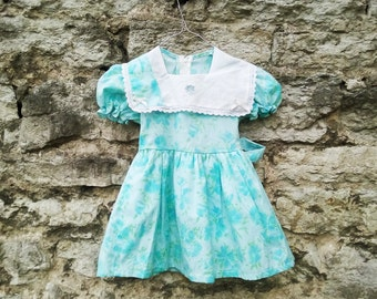 FREE SHIPPING eu 22 UK 4 us 5 Vintage bright blue toddler girls dress skirt iris patterns flower floral bow tie bowtie handmade sewn