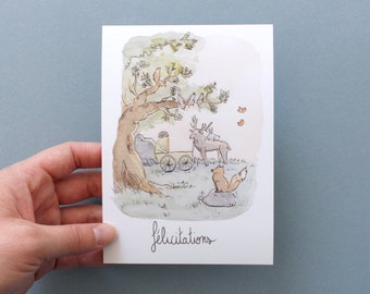 New born : mixed congratulations card. Girl or boy. Nature and animals. watercolor. Soft colors. With envelope