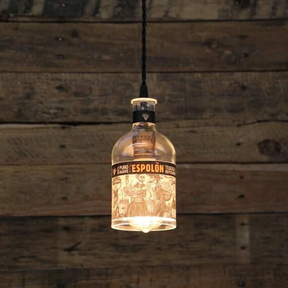Espolon Tequila Bottle Pendant Light - Upcycled Industrial Hanging Light - Handmade Bottle Light Fixture, Dorm Lighting, Apartment Light