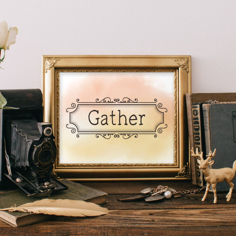 Wall Decor Gather : Gather print family room decor thanksgiving