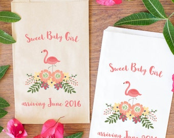 Flamingo Baby Shower Candy Bags, Baby Girl Treat Bags, Baby Shower Candy  Buffet Favors
