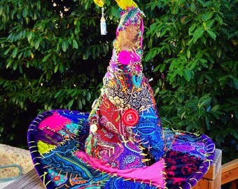 Witch Hat, Burning Man, Wizard hat, Burning Man hat, Costume Hat, festival fashion, magic hat, patchwork, mystic, wizard costume, funky hat