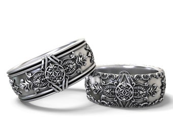Gothic wedding bands his and hers set - Sterling silver, Gold, Palladium, Platinum