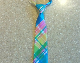 Easter Necktie, Boys Easter Outfit, Plaid Easter Tie, Spring Necktie, Pastel Plaid Necktie, Baby, Toddler, Little Boy sizes available