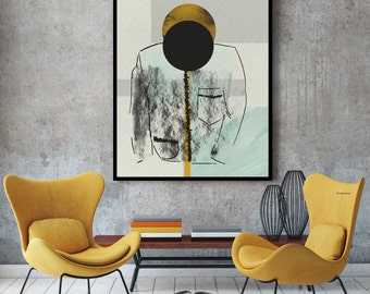 Abstract print, abstract wall art, sketch art, contemporary art, sketch print, geometric art, large print, modern print, ochre, sketch, art