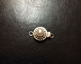 Pearl Sterling Silver Tab Clasp, 13mm, 6mm Bead, Circle