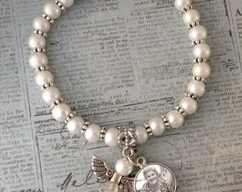 Custom Made With Your Photo! Pearly Memorial Bracelet w/ Angel Charm