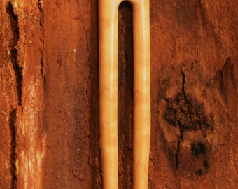 Wood Hair Fork, two prong Curly Maple wood